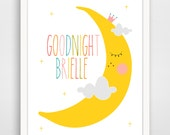 Personalized Children's Wall Art / Nursery Goodnight Moon Custom Name  print by Finny and Zook