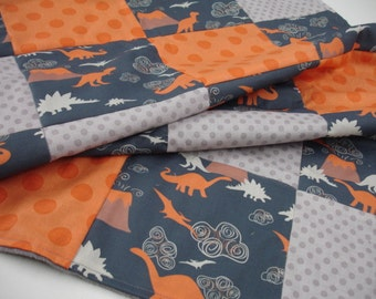 Dinosaur Land Minky Blanket You Choose Size and Minky Color MADE TO ORDER No Batting