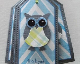 owl thank you tags set of 8