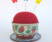 SHOP CLOSING SALE - Pin Cushion - Needle Felted - In Vintage Child's Tin Tea Cup With Saucer - Strawberries - Red, Green, And Blue