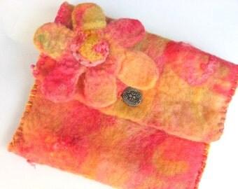 Hand Felted Clutch Pouch Purse - Orange Sherbet - Gift Under 25
