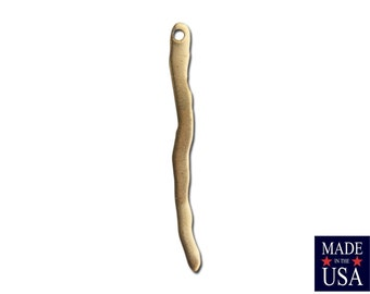 1 Hole Raw Brass Wavy Stick Drop SM 35x3mm (12) mtl465C