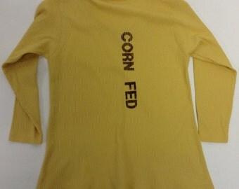 Handmade Fitted Handprinted CORN FED Vegan Top
