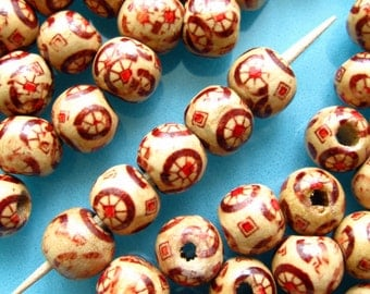 Painted Wooden Beads - Set of 60 - 10mm Round Beads with Docorative Wheel Pattern (WBD0060)