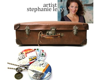 Stamped Initial Locket - Berlin, Lisbon, Vienna - Travel Magnetic Necklace by Polarity and Stephanie Levy