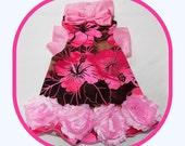 Pet Clothing To Order Custom Designed Dress in Vivid Hibiscus