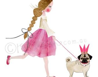 Princess and Princess Pug ART PRINT