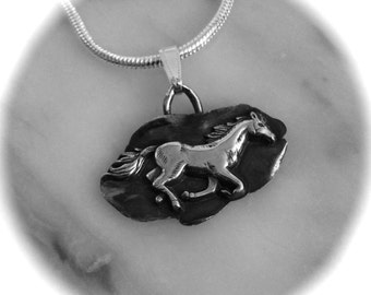 Horse Pendant, A Horse named SweetPea: mustang, recycled silver,