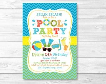 Boys Pool Party Birthday Invitation PRINTABLE