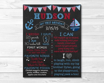 Nautical Anchor Sailboat First Birthday Chalkboard Poster Sign / Nautical Birthday / Baby Boy / Photo Prop / PRINTABLE