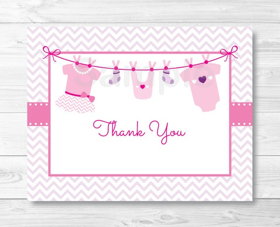 Baby clothes thank you card baby onesie baby clothesline baby il570xn maxwellsz