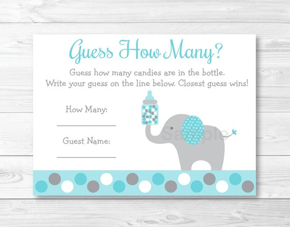 teal elephant guess how many baby shower candy guessing