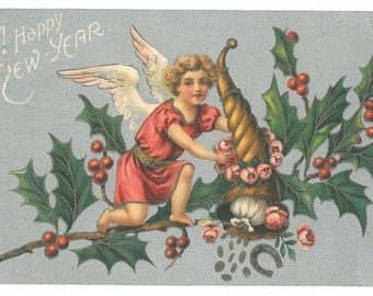 Vintage Happy New Year Postcard with Angel