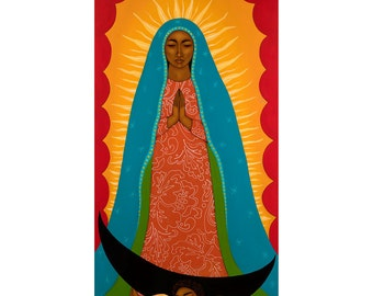 Virgen de Guadalupe - Art Print of Original Acrylic Painting - Mexican Wall Art Decor for the Home By Tamara Adams