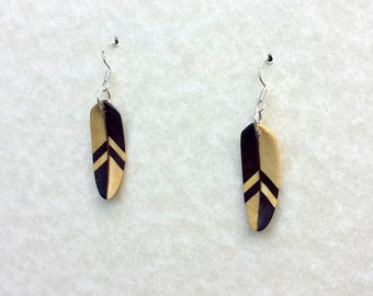 Handcarved Holly and Ebony Wood Feather Earrings J150517