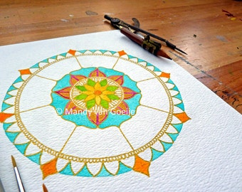 "Enhanced Mandyla Art Print ""I need an Island"" mandala"