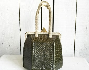 Vintage Box Purse - Green Cobra Kelly Bag - 1940s Art Deco