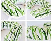 BAMBOO  PRINT BOPPY Cover  / Zipper closure  /  Bamboo   cotton  print with soft Flat minky / Great neutral gender baby gift