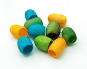 Hand dyed silk cocoons - green, bright yellow, turquoise, set of 10 cocoons, jewellery supply, textile supply, fibre art supply