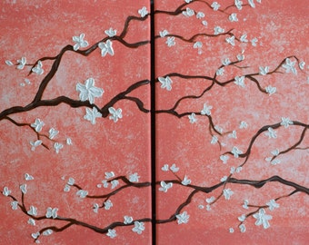 Coral with White Cherry Blossom Branches Original Acrylic and Oil Painting