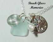 Sea Glass Necklace Personalized Necklace Aqua Beach Glass Necklace Sand Dollar Seaglass Jewelry Charm Necklace