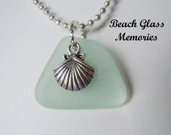 Sea Glass Sea Shell Necklace Sea Foam Beach Glass Necklace  Seaglass Jewelry