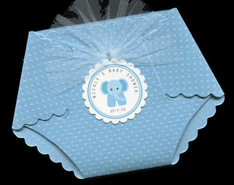 Baby Shower Invitations - Diaper Invitation - Diaper Shaped Invitation - Baby Boy - Blue Elephant - set of 40