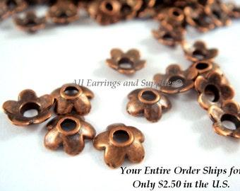 25 Antique Copper Bead Cap Flower Tibetan Silver 6.5mm LF/CF - 25 pc - F4124BC-AC25