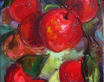 """Fruit Oil Painting, Original Still Life, Red Apples on the Tree, Small Canvas 8 x 10"""""""