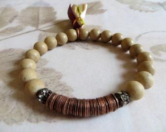 Jasper Energy Bracelet, Yoga Bracelet With Sari Silk Tassel, Wrist Mala