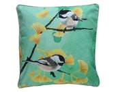 XL Cushion cover for throw pillow with bird - Chickadees mint - 24x24inch // 60x60cm