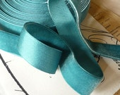 "Vintage Satin Back Velvet Teal Rayon Ribbon (7/8"")"