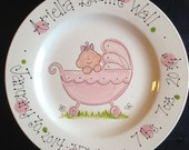 """Hand Painted 8"""" Baby Plate - Sweet Baby Girl in Baby Carriage"""
