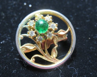 Vintage Circle Brooch with Rhinestone Flower in the Center Pin