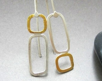 """23.5K gold and silver mixed metal """"Double Pane Drop"""" earrings READY TO SHIP"""