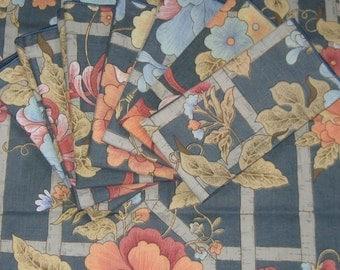 floral napkins . 80s napkins . Vintage Floral Napkins . Lot of 8 . Floral Print Napkins . blue floral napkins