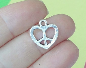 15 Heart Peace Sign Charms 14.5x15.5x1mm