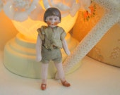Antique German Dollhouse Bisque Flapper Doll with Bobbed Hair, Felt Clothes