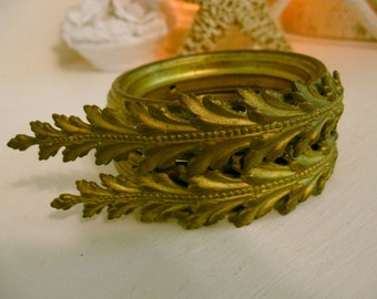 Antique French Curtain Tie Backs Pressed Metal Pair Set Paris