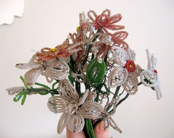 Vintage French Beaded Flowers Gray Silver Pink White