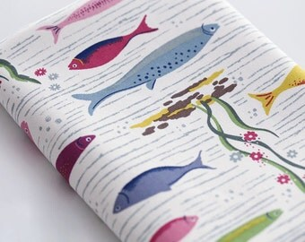 4002 - Cath Kidston River Fish (Offwhite) Cotton Canvas Fabric - 57 Inch (Width) x 1/2 Yard (Length)