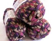 Boutique Twilight ROMANTIC, burgundy wine sand tan sparkling metallic super bulky weight acrylic yarn