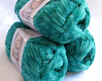 Boutique Twilight JADED, jade green sparkling metallic super bulky weight acrylic yarn