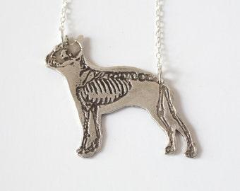 Dog Necklace - Boston Terrier Necklace - Dog Skeleton - Silver Dog Jewelry - Dia de los Muertos - Rescue  Dog