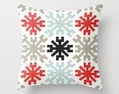 Mayan Pillow Cover Red Pillow Throw Pillow Accent Pillow Size Choice