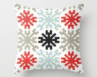 Mayan Pillow Cover Red Pillow Throw Pillow Accent Pillow Size Choice