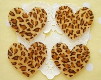 6 pcs Big Acrylic Leopard Heart Plate / Cabochon (40mm45mm) IK142