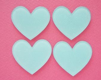 6 pcs Big Acrylic Glitter Heart Plate / Cabochon (40mm45mm) Sky Blue IK146