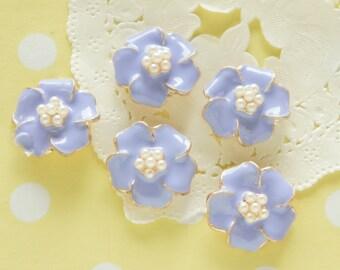 SALE 4 pcs Metal  Flower Motif / Pearls Centered Cabochon (20mm) Purple AZ138 (((LAST)))