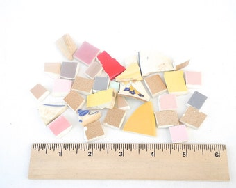 DESTASH - Hand-cut Tiles and Ceramic Pieces for DIY Mosaic Crafts Birdhouses Fairy Houses Display Mosaic Jewelry, About 2 lbs, Over 100 pcs.